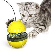 Xigeapg ペット犬猫タンブラー、漏れ食品おもちゃ、おかしい猫ポール、フィーダーおもちゃ、犬猫フィーダーおもちゃ、トレーニングおもちゃペット,イエロー