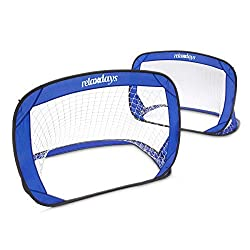 Relaxdays Pop Up Tor 2er set, self-erecting football goal, mini-goals mobile with carrying case, 80 x 120 x 80 cm, blue