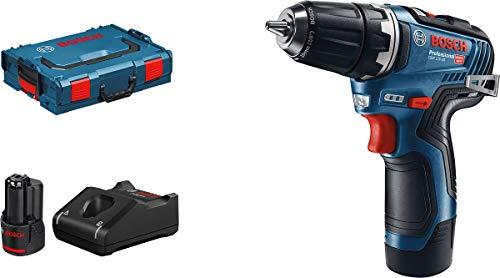 Bosch Professional 06019H8002 12V-35 Akkuschrauber GSR 12 V-35 (2x 3,0 Ah Akku, 12 Volt, max. Drehmoment hart/weich: 35/20 Nm, in L-BOXX), Farbe, mit 2x 3.0 Akkus + Ladegerät