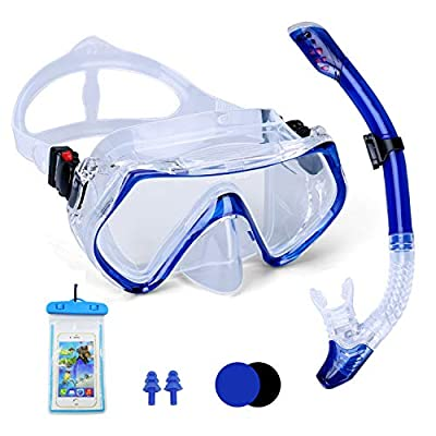 Multi Outools Snorkel Mask Set Adult - Dry Snorkeling Package Set for Youth with Purge Valve Tube,Free Breathing Anti Fog Top Diving Mask with Waterproof Case and Waterproof Earplugs