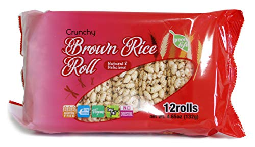 Crunchy Brown Rice Roll Snack, 4.65 oz, 12 Roll Per Pack, Pack of 5, No Fat, No Cholesterol, No Sodium, Vegan, Gluten Free,