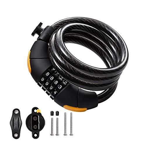 julyso Bike Lock Combination Cable Lock Combinationa Lock with 4-Feet Bike Cable Basic Self Coiling Resettable Combination with Complimentary Mounting Bracket, 4 Feet x 1/2 inch(12mm) Cable.