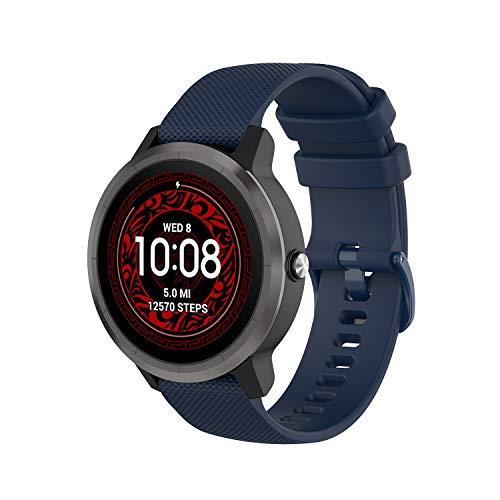 Wownadu 20MM Correa Compatible para Garmin Vivoactive 3, Compatible para Garmin Forerunner 245 Correa Azul Mujer Hombre Pulsera Recambio Sport Silicona Band (sin Reloj)