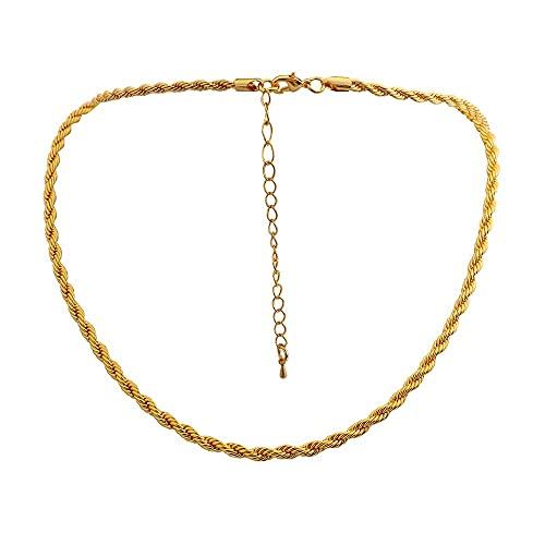WMYDYBD Collar de Metal de Oro Collar de Cadena de Cuerda torcida para Mujer Collar de Cadena Fina Gruesa y Ancha de Las Mujeres Collar Minimalista de los Hombres