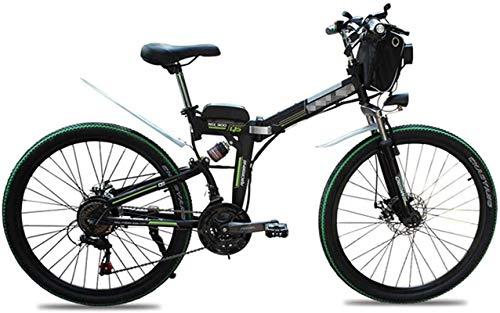 Bicicleta electrica, Bici de montaña plegable eléctrico 26 pulgadas Neumáticos de montaña Bicicleta eléctrica de 21 Velocidad Cambio de velocidad 48V10AH Plegable para adultos Scooter de energía eléct