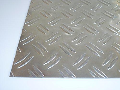 B&T Metall Aluminium Riffel-Blech Duett 1,5/2,0mm stark | Tränen-Blech Zuschnitt, Größe 50 x 80 cm (500 x 800 mm)