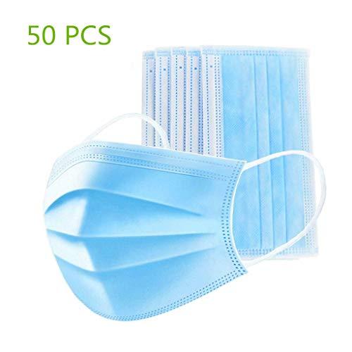 50 piezas de tela no tejida de 3 capas para rostros desechables Ma-sk para adultos, antivaho y antipolvo
