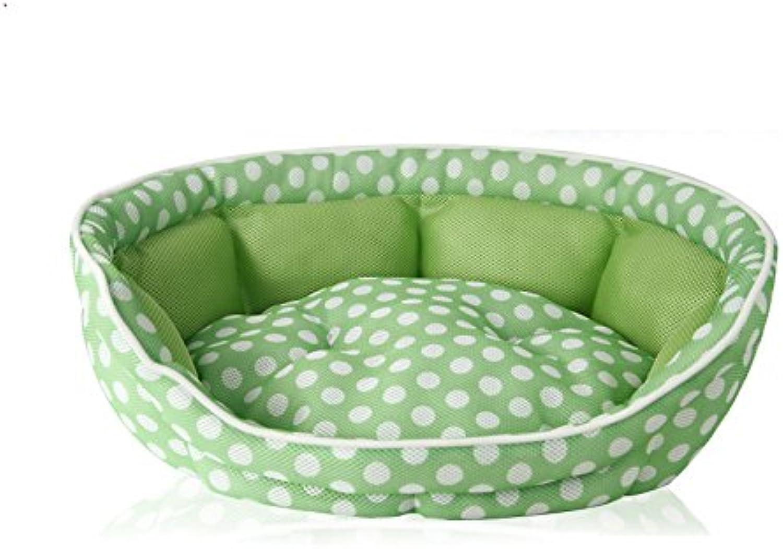 Liergou Pet Bolster Bed Sandwich Mesh Cushion Sofa Nest Wave Teddy Small Dog Kennel Pet Supplies. (color   Green)