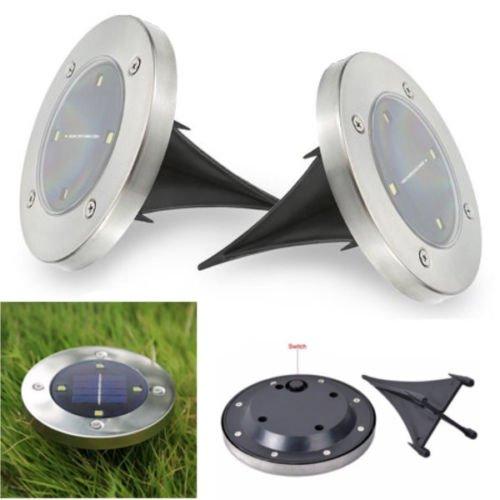 DOBO 2 fari faretti 4 LED pannello solare ricaricabile interruttore per giardino esterno piatto pavimento wireless impermeabile illuminazione solare da incasso esterno giardino - LUCE BIANCA