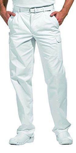 clinicfashion 12012009 Arzthose Herren weiß, Normalgröße, Dehnbund, Mischgewebe, Größe 48 mit Ledergürtel 85 cm