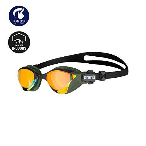 Arena Cobra Tri Mirror Triathlon Swim Goggles, Yellow Copper/Army, Swipe Anti-Fog (New)