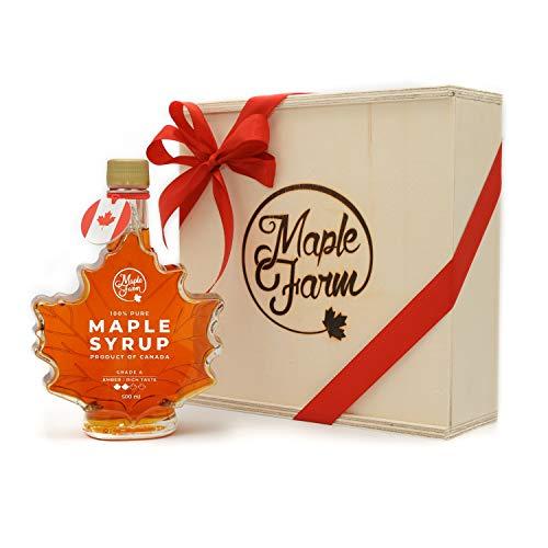 MapleFarm - Jarabe de arce puro - AMBER - Rich taste - 500ml (661g) - Botella tradicional de hoja de arce en caja de madera hecha a mano - Pancake syrup
