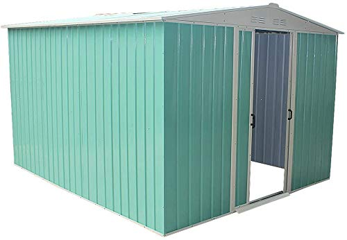 Garden Storage shed roof Metal shed 8 x 8ft,Green-8 x 8ft