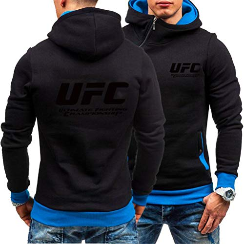 Sudadera con Capucha Impresa MMA Fitness Hoodie con Cremallera, UFC Impreso Al Aire Libre De Manga Larga Ropa Deportiva Top, 3 Estilos (Color : Black-3, Size : Large)