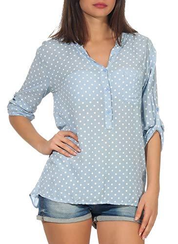 malito dames blouse met stippen | Tuniek met 3/4 mouwen | Blouse shirt ook met lange arm draagbaar | Elegant | Shirt 3419