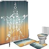 Juego de cortinas baño Accesorios baño alfombras Decoración estrella de mar Alfombrilla baño Alfombra contorno Cubierta del inodoro Iconos de viaje de horario de verano Viaje de aventura Concepto de e