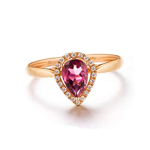 Amody Womens Wedding Bands Rose Gold, Womens Rings Wedding Teardrop Shape with Tourmaline and Diamond 0.778 carat Size V 1/2