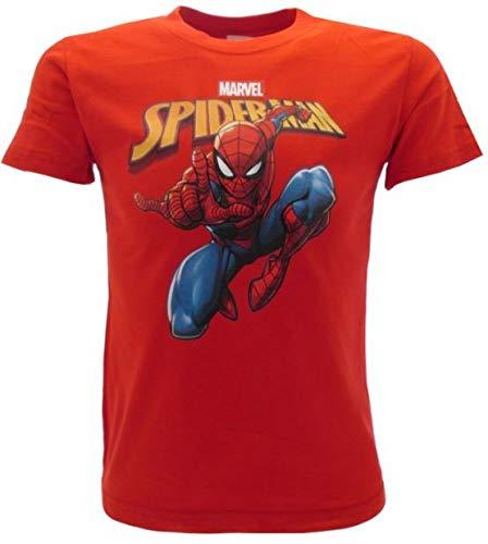 T-Shirt Spiderman Originale Spider-Man Uomo Ragno Rossa Marvel Ufficiale Maglia Maglietta (7-8 Anni)
