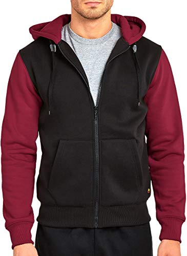 ToBeInStyle Men's Two-Tone L.S. Zip Up Hoodie - Black/Burgundy - Large