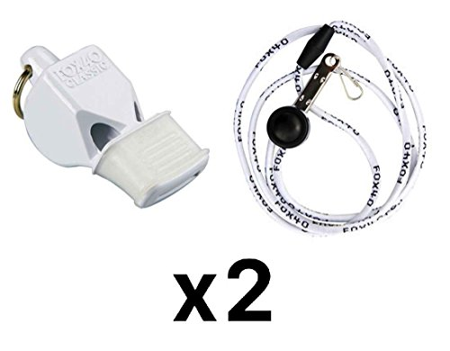 Fox 40 Classic CMG Whistle w/Lanyard Referee-Coach, Safety Alert-White (2-Pack)