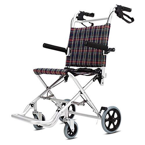 QINAIDI Aluminiumlegierungs-Rollstuhl für ältere Menschen und Kinder, faltender Leichter tragbarer Reiseroller,46cm
