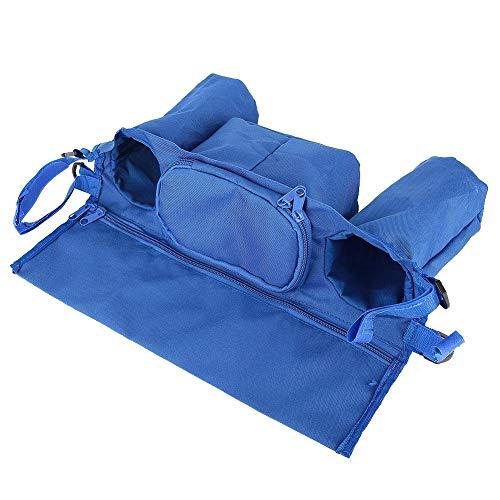 Organizador de cochecito de bebé, diseño de cremallera de tela Oxford que cuelga el portavasos duradero del cochecito, para carrito de cochecito de(Royal blue)