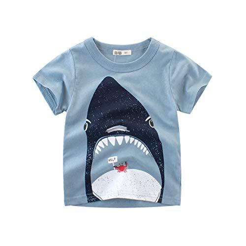 Unisex Baby T-Shirt Baumwolle Süß Karikatur Tier Muster Tops für 1-7 Jahre Alt (1-2 Jahre, Blau)