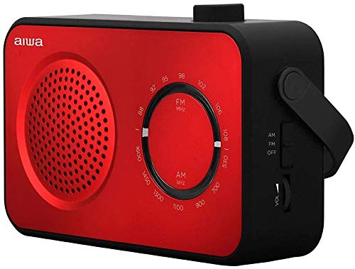 AIWA R-190 Red (UK Model) Portable Radio, AM FM, Mains & Battery, With Headphone Socket Red Black