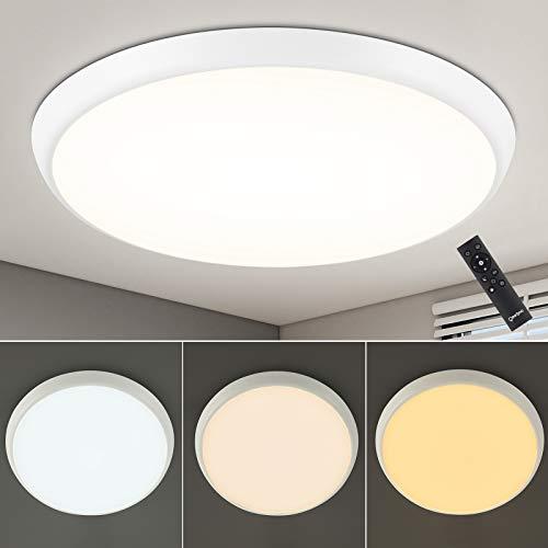 LED Deckenleuchte Dimmbar, Oeegoo 36W LED Deckenlampe mit Fernbedienung, IP54 Wasserdichte LED Lampe für Bad Kinderzimmer Schlafzimmer Wohnzimmer, Warm- bis Kaltweiß 3000-6500K, Helligkeit 10%-100%