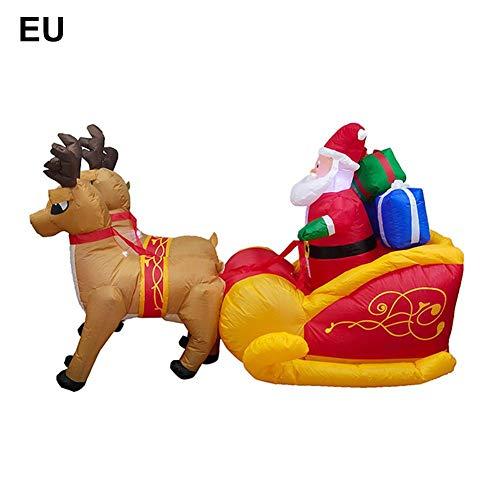 Adorno de Navidad Jardín Elk Trineo Papá Noel Decoración Inflable