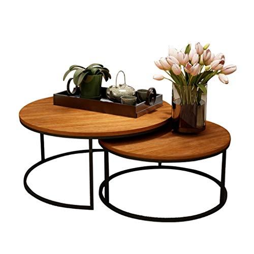 Juego de Mesa de café Redonda Mesa Auxiliar de diseño Moderno Mesas de Centro Sofá scandinavo para el hogar y la Oficina, Tapa de Madera Maciza y Metal,Extensibles apilable