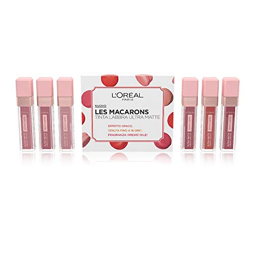 L'Oréal Paris Confanetto Idea Regalo Make Up Les Macarons, Confezione con 6 Rossetti Tinta Labbra Matte a Lunga Tenuta, Colori Vari