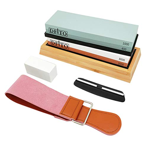 DFITO Knife Sharpening Stone, 4 Side Grit 400/1000 3000/8000 Premium Whetstone Knife Sharpener Kit...