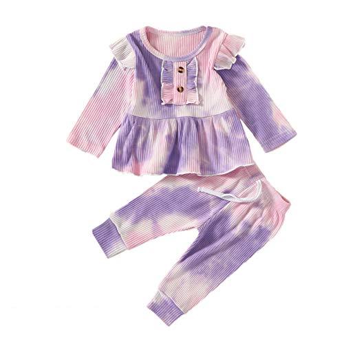 Neugeborenes Baby Tie-Dye Bedruckte Langarm Rundem Hals Oberteile und Hose, Mädchen Junge Baumwollkleidung Kinder Herbst Winter Weiche warme Kleidung Set