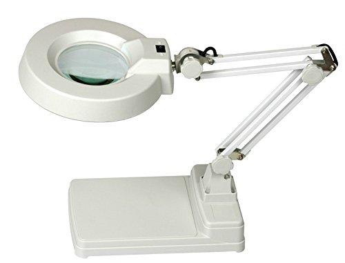 MVpower Lupa con luz Lámpara de mesa de manicura Brazo Flexible (aumento de 10 dioptrías, diámetro del vidrio 12 cm 22 w)