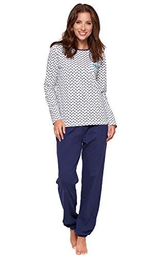 Moonline süßer und bequemer Damen Schlafanzug aus 100% weicher Baumwolle, mit Herzchen-Muster, weiß, Gr. L (44-46)