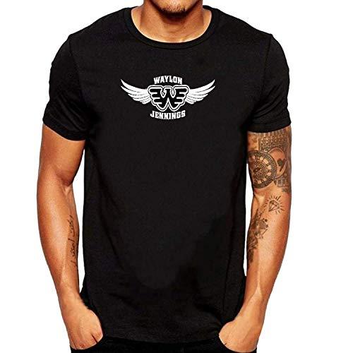 ZOMMING Tee Waylon Jennings Logo Wing Herren T Shirts Schwarz