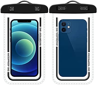 PERFECTSIGHT Waterproof Phone Pouch, Floating IPX8 Universal Cell Phone Waterproof Case Underwater Dry Bag with Lanyard Compatible with iPhone, Samsung and More Up to 7.2'' (1 Pack Black)