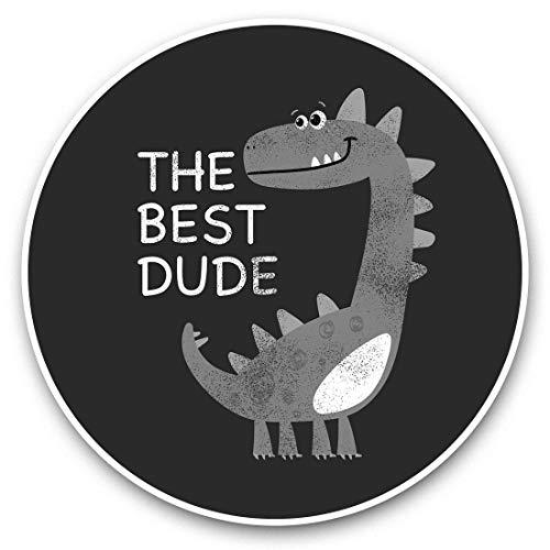 Vinyl Stickers (Set of 2) 15cm Black & White - Best Dude Dinosaur Kids Boys Laptop Luggage Tablet #42190