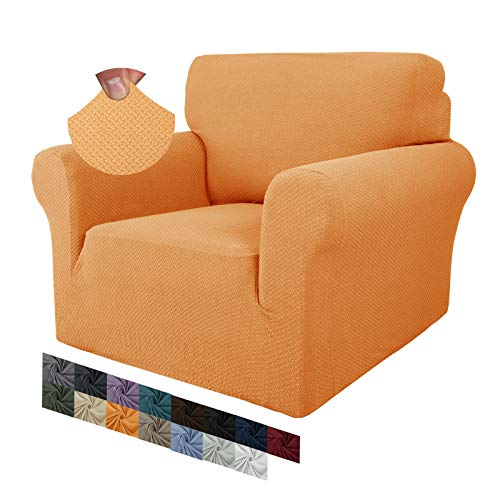 MAXIJIN Creative Jacquard Chair Covers for Living Room, Super Stretch Non Slip Chair Slipcover with Arms Dogs Pet Friendly 1-Piece Elastic Sofa Couch Protector Armchair Cover (1 Seater, Orange)