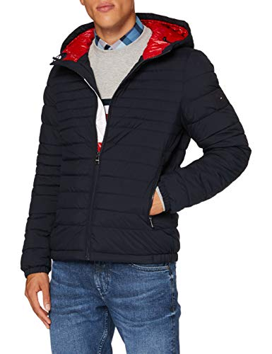 Tommy Hilfiger Quilted Hooded Jacket Chaqueta, Blue, X-Small para Hombre