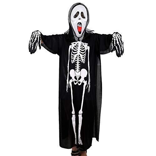IBLUELOVER Horror Skelett Kostüm mit Robe Handschuhe Schrei Maske Set Halloween Skelett Kostüm Verkleidung Karneval Party Cosplay Kostüm Geisterkleidung Outfit Erwachsene Unisex