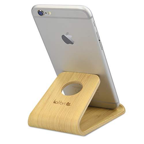 kalibri Supporto Smartphone Universale da Tavolo - Stand Cellulare Tablet Compatibile con iPad e iPhoone - Sostegno Dock scrivania - Bamboo