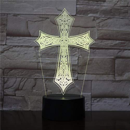 Led Usb Christian Cross 3D Lámpara De Noche Regalos Fiesta En Casa Docor Atmósfera Placa De Acrílico Iluminación Brillo Multicolor