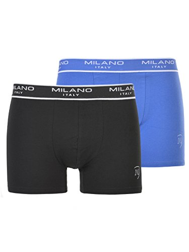 Milano Italy Herren Boxershorts 2er-Pack, schwarz-blau (S)