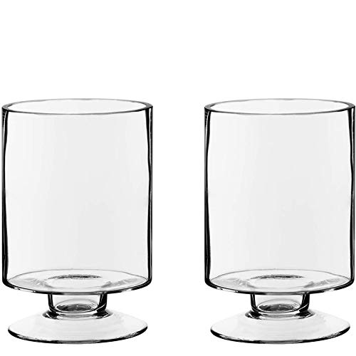 Short Stem Pedestal Glass Candle Holders H-6' Open-3.75' - Wedding, Event and Home Decor