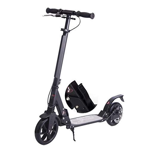 WYQ Kick Scooter Adulto Unisex con amortiguadores, Motos de Viaje con Frenos de Disco, Marcha Suave y rápida, Soporte 100 kg, no eléctrico (Color : Negro)