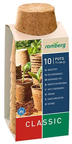 Romberg Anzuchttöpfe Classic rund ø 11 cm (10 Stück, biologisch abbaubar, torffrei, einfache Anwendung) 10091102