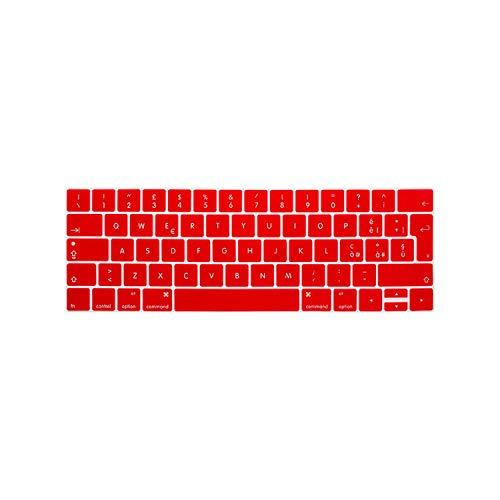 Euro/UK - Funda de silicona italiana para teclado MacBook Pro de 13 pulgadas A1706 A1989 y Pro de 15 pulgadas A1707 con Touch Bar A1990 A2159-Rojo-
