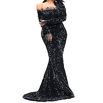 Women Off Shoulder Feather Long Sleeve Floor Length Evening Party Sequin Maxi Dress  X-Large Black
